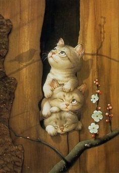 Makoto Muramatsu (Japan).  The Japanese are wonderfully talented at depicting cats!