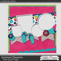Connie Prince Digital Scrapbooking News: Freebie | Summer Dreamin to make a Quick Page for you