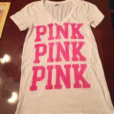 Pink Victoria secret V neck T-shirt White Victoria's Secret with big pink print. In very good condition. PINK Victoria's Secret Tops Tees - Short Sleeve