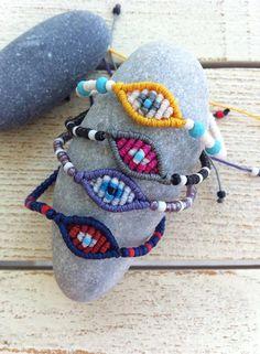 Mini evil eye macrame bracelets in fresh summer colors! Macrame Bracelets, Summer Colors, Evil Eye, Mini, Coin Purse, Buy And Sell, Felt, Etsy, Handmade