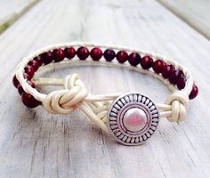 Single Leather Wrap Bracelet  Pearl and Red