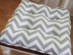 Tufted Chair Pads and Cushions in Grey Chevron for dining kitchen patio porch and rocking chairs on Etsy, $29.95