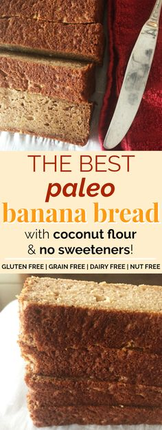 Coconut Flour Paleo Banana Bread | This paleo banana bread is AMAZING! I love that it's made with coconut flour and only sweetened with bananas - no sugar or sweeteners! It's cakey and moist with just the right amount of sweetness! Plus, this paleo banana bread is totally gluten-free, grain-free, dairy-free, and nut-free! This is becoming a staple at my house for sure. Definitely pinning! #paleo #grainfree #glutenfree #dairyfree #nutfree