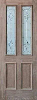 External Oak Door with 2 Triple Glazed panes featuring leaded glazing. 2 panels of glazing, 2 wooden panels. Raised mouldings to outside face. External Oak Doors, Hirst, Tall Cabinet Storage, Home Decor, Decoration Home, Room Decor, Home Interior Design, Home Decoration, Interior Design