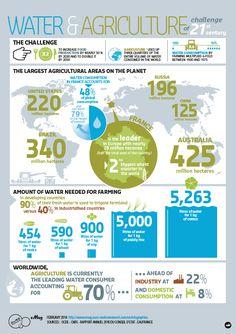 Esta infografía de Suez Environnement explica la situación de la agricultura respecto al agua.