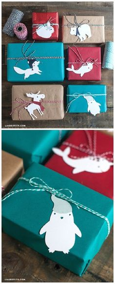 SO cute! Paper Animal Gift Toppers or Tree Decorations - Download the Printables via Lia Griffith - The BEST DIY Gift Toppers - Pretty and EASY Inexpensive Handmade Ideas for Christmas, Birthdays, Holidays and any special occasion!