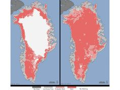 97% of Greenland's surface ice melts in two weeks - Surface melt over Greenland's ice sheet on July 8 (left) and July 12 (right); Credit: © NASA/Goddard Space Flight Center