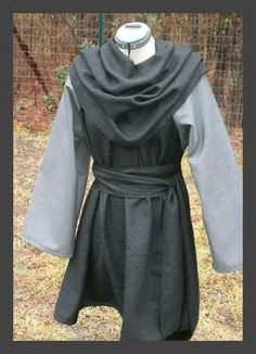Renaissance Mens Tunic - LARP SCA L-XL Black with Grey