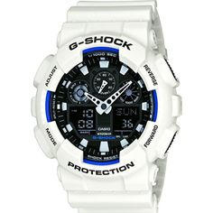 GA-100B-7AER - Casio Mens G-Shock World Time White Resin Strap Watch