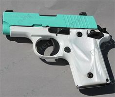 """Exclusive---- P238 380ACP Robins Egg Blue Slide NS 6rd. Sig Sauer engineers designed the P238 as a smart looking, subcompact handgun built with the same accuracy and reliability as large frame Sig Sauer pistols. With an overall length of just 5.5"""", height of 3.96"""", and weighing just under a pound, the Sig Sauer P238 is the ultimate firepower in an all-metal frame concealed pistol. The P238 is built on an anodized alloy beavertail style frame with fluted grips for comfort and a secure hold…"""