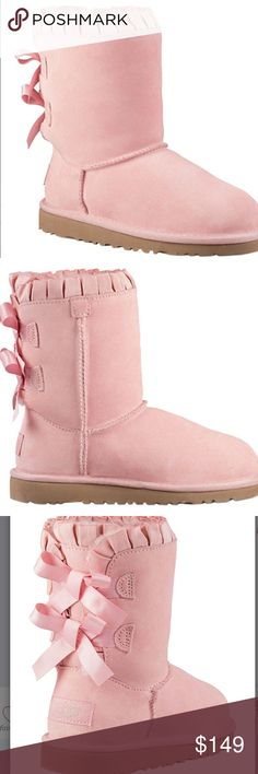 Preorder. UGG Bailey Ruffle Bow Brand new boots on their way.    If interested leave your name here.  These are sold out every where.  They are too cute and beautiful. UGG Shoes Ankle Boots & Booties