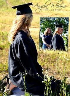 Mother looking at daughter in mirror -Cap & Gown photo idea...