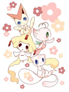 Victini - the Victory Pokemon, Celebi - the Guardian of Time, Jirachi - the Wish-maker, and Mew - the Ancestor of all Pokemon.