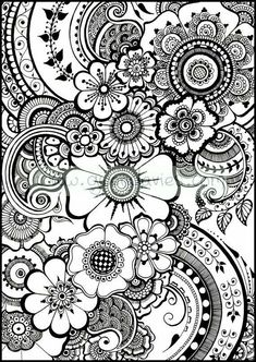 Flowers Coloring Sheets Pdf Best Of Coloring Pages for Kids Flowers Ideas Henna Flower Printable Paisley Coloring Pages, Doodle Coloring, Flower Coloring Pages, Coloring Book Pages, Coloring Sheets, Colouring Pages For Adults, Mandala Coloring Pages, Hair Coloring, Mandalas Painting