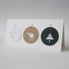weihnachtskarte TAGS ° mit 3 weihnachtsanhängern von PAPERSIGN auf DaWanda.com