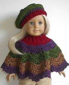 Crocheted Poncho Set in Autumn Harvest Colors handmade to fit the 18 American Girl Doll - Ready to Ship. I have designed and crocheted this two-piece poncho set using very soft 100% acrylic yarn in stripes of burgundy red, purple iris, leaf or olive green, and toasty brown. The set