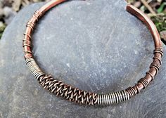 Mixed metal mens bracelet  Viking copper by MateriaMorfosi on Etsy