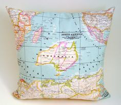 """world map pillow cover - as seen in Marie Claire - decorative pillows - travellers gift - blue pillow - 18"""" designer pillow"""