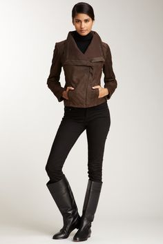 Ribbed Panel Leather Jacket > jacket and boots need to relocate themselves into my wardrobe.