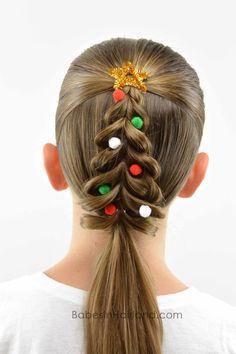 Christmas Tree Pull-Through Braid - crazy hair day? Kids Braided Hairstyles, Christmas Hairstyles, Little Girl Hairstyles, Hairstyle Braid, Hairstyles 2016, 1920s Hairstyles, Teenage Hairstyles, Toddler Hairstyles, Formal Hairstyles