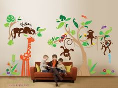 Children Wall Decal Wall Sticker Animals - Jungle with Monkey, Tree, Giraffe, Parrot Wall Stickers - PLJN010L on Etsy, $244.65 AUD