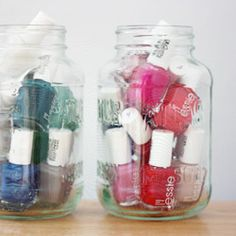 Use mason jars as a cute way to display and store your nail polish collection at the same time.