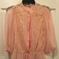 Light Rose color blouse Sheer, rose pink blouse, great condition. Forever 21 Tops Blouses