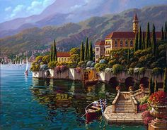 Varenna Reflections - 24 x 30 or 30 x 40 Artist Embellished Giclee on Canvas