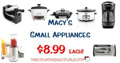 WOOHOO! Grab small appliances for only $8.99 each! Choose from Coffee Maker, Rotary Waffle Maker, Rocket Blender, Slow Cooker and so much more! Great ideas for gifts too!  Click the link below to get all of the details ► http://www.thecouponingcouple.com/small-appliances/ #Coupons #Couponing #CouponCommunity  Visit us at http://www.thecouponingcouple.com for more great posts!