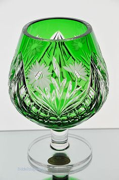 German Emerald Green Cut to Clear Crystal Brandy Glass Snifter Goblet Large Size | 8600