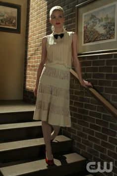 Lemon's cream outfit with bow tie and red heels on Hart of Dixie.  Outfit details: http://wornontv.net/2863/
