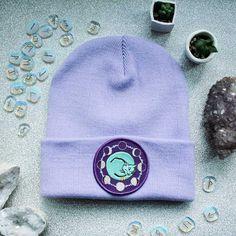 8af0225c395 Space Cat Beanie Hat Lavender Mint   Black Occult Flair