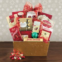 Behold, a majestic arrangement with gourmet gifts fit for royalty! Gourmet Gift Baskets, Gourmet Gifts, Christmas Gift Baskets, Christmas Gifts, Holiday, Toblerone, Lindor, Coconut Cream, Fresh Fruit