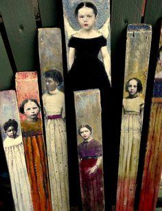 Aggie folk art tall wood portrait painting vintage girl maud Starr