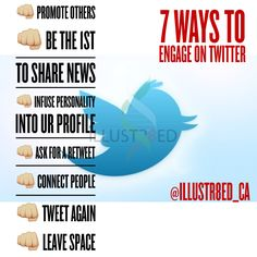 """7 ways to engage on Twitter ▃▃▃▃▃▃▃▃▃▃▃▃▃▃▃▃▃▃▃▃▃▃ Don't be Anti-social... Get Social with us! FB - facebook.com/illustr8ed.ca Twitter - Twitter.com/illustr8ed_ca Instagram- @illustr8ed.ca LinkedIn - https://ca.linkedin.com/in/illustr8edca Pinterest - www.pinterest.com/illustr8edca Tumblr - http://illustr8edca.tumblr.com  Check us out online at www.illustr8ed.ca. (COMING SOON)  illustr8ed.ca@gmail.com  """"Cre8ivity is in our DNA"""""""