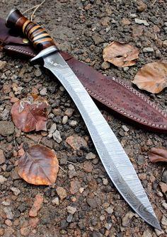 Damascus Knife Custom Handmade - 19.00 Inches Rose Wood Handle Bowie #Handmade