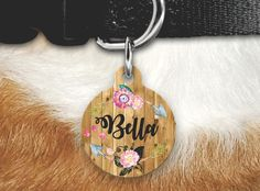 Girly Dog Tag - Double SIded Pet Tag - Dog Tags For Dogs - Floral Wood Pet Tag - Custom Pet Id by MysticCustomDesignCo on Etsy