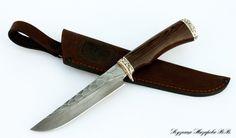 Нож Сапер 2: сталь дамасск- камень, мельхиор,венге ― Кузница Назарова В.В.