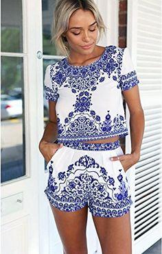 Imixcity®2016 Été Plage Femmes Short et T-shirt Loose Top Ensemble 2 Pièces Porcelaine Bleue et Blanche Conception: Amazon.fr: Vêtements et accessoires