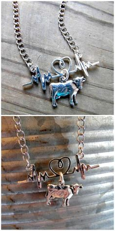 Made especially for those who love their dairy cow… ) ) Dairy Cow Heartbeat Necklace. Made especially for those who love their dairy cows! Country Jewelry, Western Jewelry, Cowgirl Jewelry, Cow Kitchen Decor, Cow Decor, Show Cows, Dairy Cattle, Cow Shirt, Showing Livestock