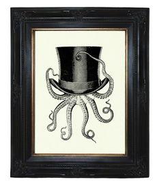 Herr Oktopus mit Zylinder Hut Portrait Kunstdruck von oddemporium auf DaWanda.com
