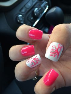 October breast cancer nails #BreastCancerNailDesigns #NailDesigns #nailart