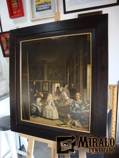 Miralo Enmarcado - Taller de Marcos Cuadros y Espejos: Enmarcado con triple marco chato y filete dorado - las meninas de Velázquez