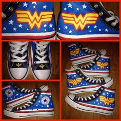 Wonder Woman Hand Painted Converse Shoes by CandysCustomPaints, $100.00