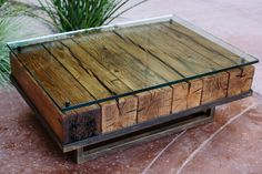 Reclaimed wood coffee table by Peter Thomas Designs in Phoenix, Arizona.