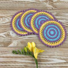 Purple Stripes Coasters Crochet Pattern Knit Slippers Free Pattern, Crochet Coaster Pattern, Knitted Slippers, Crochet Patterns, Woodland Nursery Prints, Crochet Home Decor, Free Crochet, Kopper, Coasters