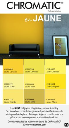 YELLOW is happy and optimistic, like the smiley. In decoration, choose the bo . Office Paint Colors, Neutral Paint Colors, Color Harmony, Color Balance, Colorful Interior Design, Colorful Interiors, Pantone, Business Office Decor, Yellow Office