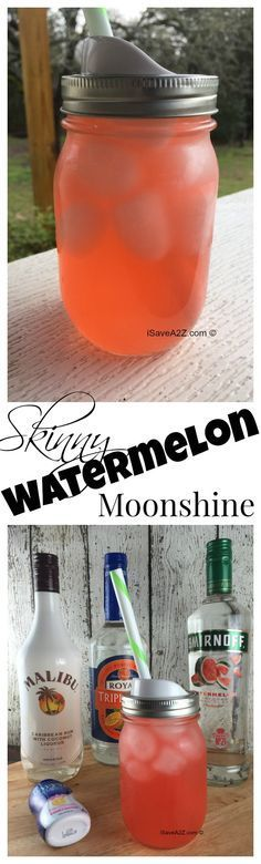 Skinny Watermelon Moonshine Recipe ~ One of the best skinny Watermelon moonshine recipe's you will ever taste. It's a mix of Pink Lemonade, Watermelon Vodka, Triple Sec, and Malibu Rum! Cocktail Drinks, Fun Drinks, Yummy Drinks, Cocktail Recipes, Malibu Drinks, Skinny Alcoholic Drinks, Best Vodka Drinks, Vodka Mixed Drinks, Alcholic Drinks