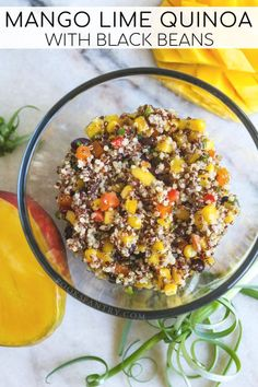 Mango lime quinoa salad with black beans is light and refreshing on a hot day and lasts for days in the refrigerator, making it perfect for meal prepping. # Food and Drink salad Mango Lime Quinoa with Black Beans Chicken Salad Recipes, Healthy Salad Recipes, Low Carb Recipes, Vegetarian Recipes, Pasta Recipes, Healthy Foods, Lime Quinoa Salad, Mango Salad, Lentil Salad