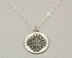 PMC fine silver pendant necklace, Precious metal clay jewelry by BellesBijouxDesigns